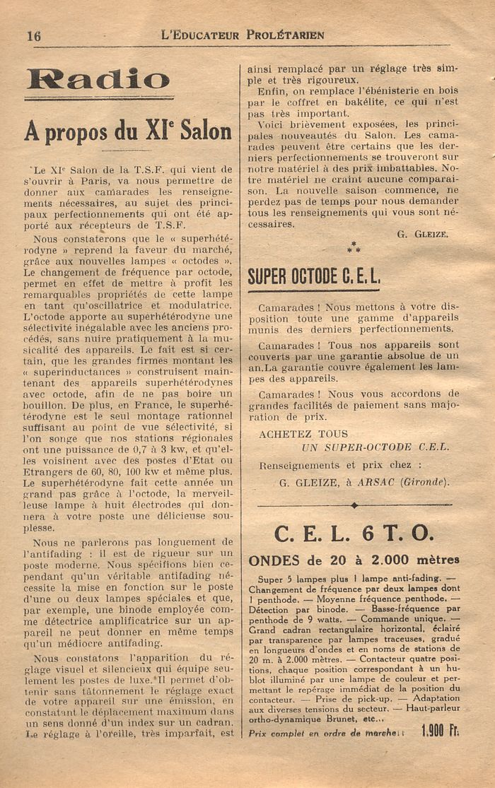 L'Educateur prolétarien : N°1 - 1er octobre 1934