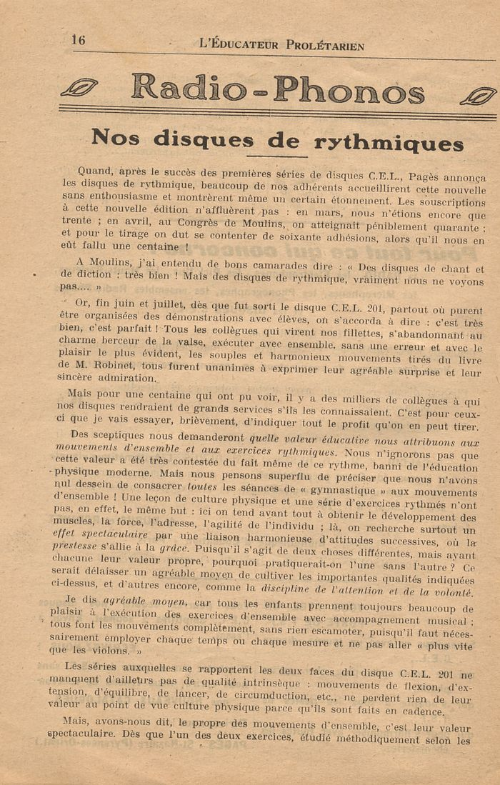 L'Educateur prolétarien : N°1 : 1er octobre 1936